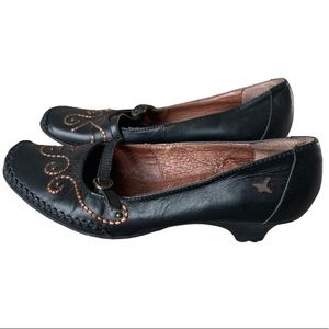 Pikolinos Leather Mary Jane Embroidered Shoes Sz 7